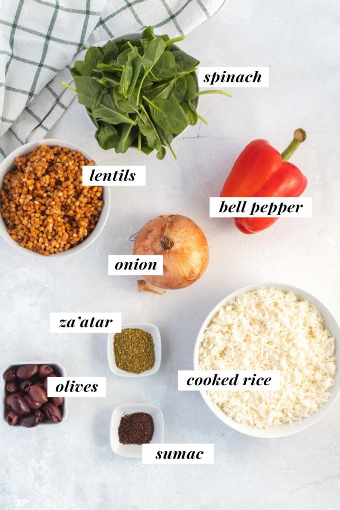 Visual ingredient list for rice and lentils with olives.