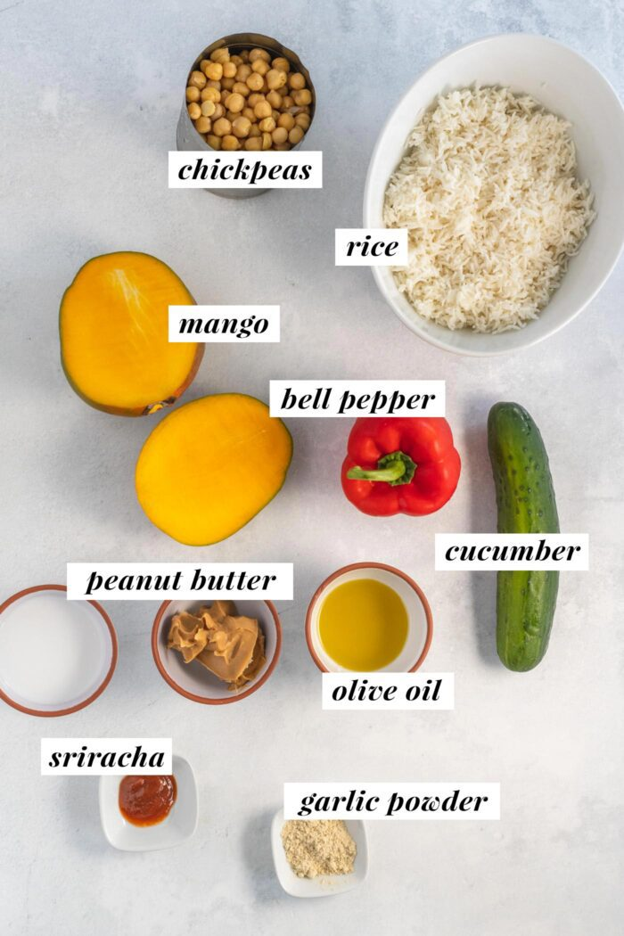 Visual ingredient list for making a peanut rice chickpea bowl.