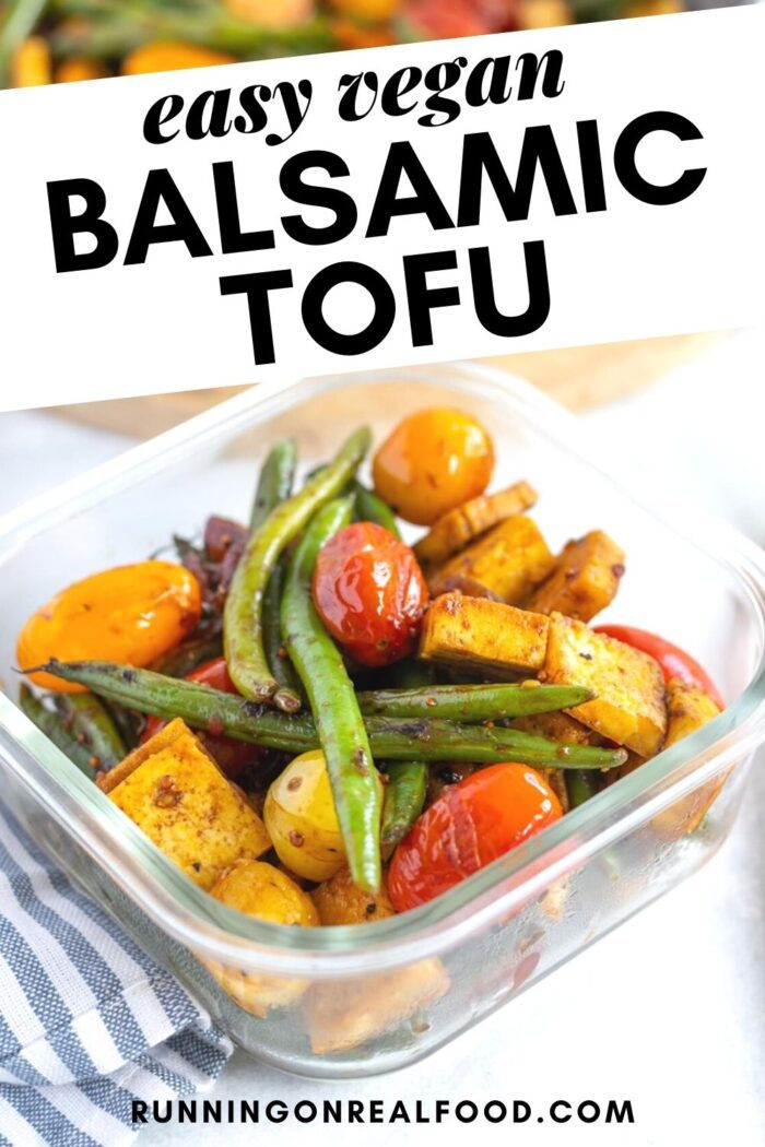 Pinterest graphic with an image and text for balsamic tofu.