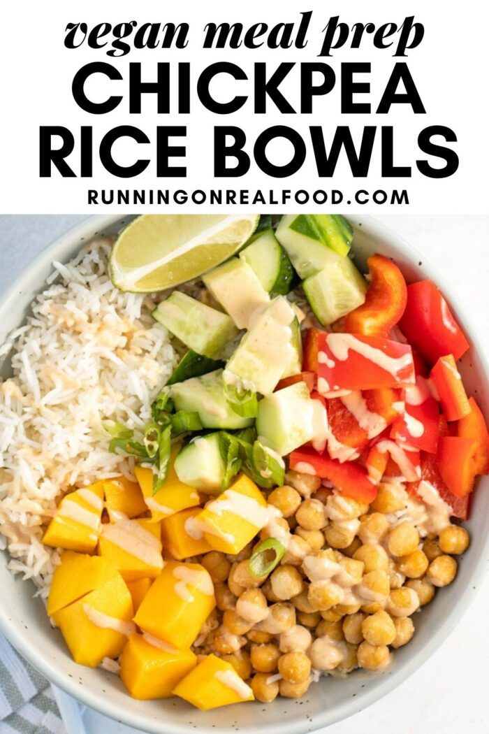 Pinterest graphic with an image and text for vegan chickpea rice bowls.