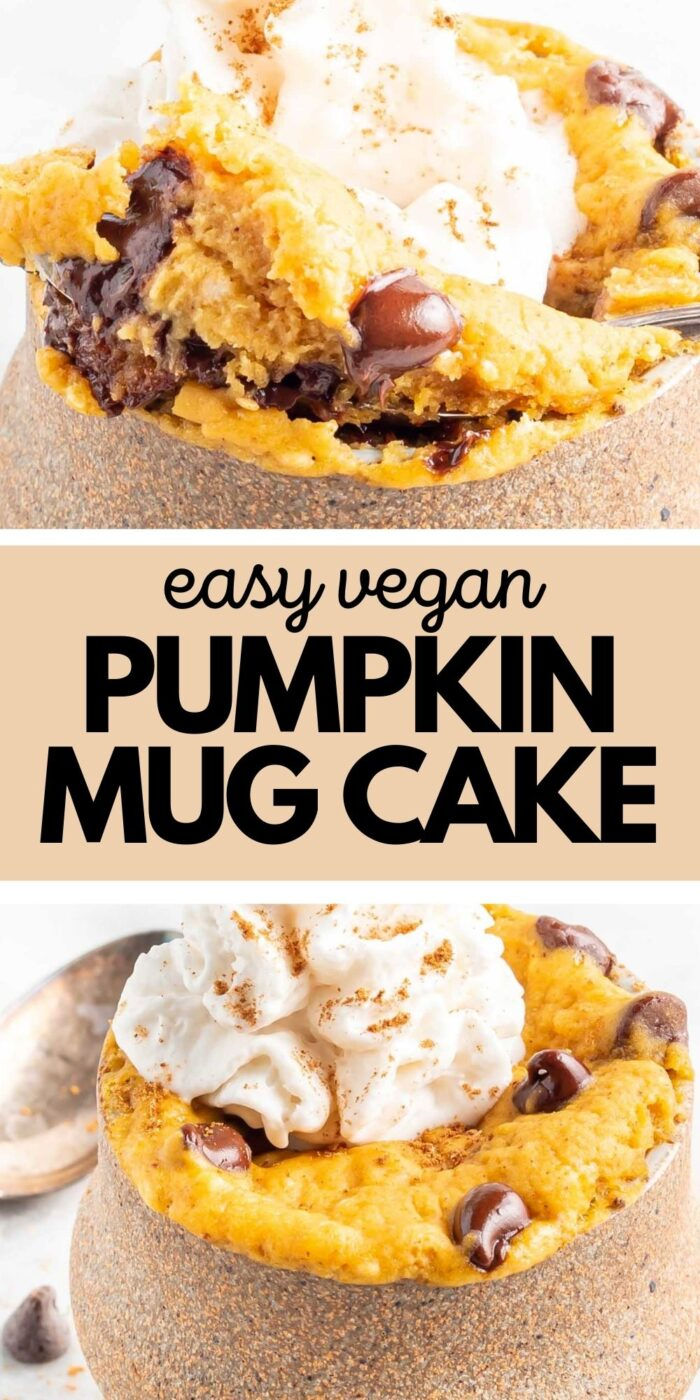 Pinterest graphic with an image and text for pumpkin mug cake.
