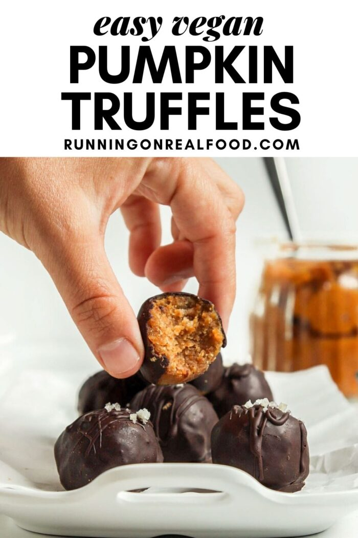 Pinterest graphic with an image and text for pumpkin truffles.
