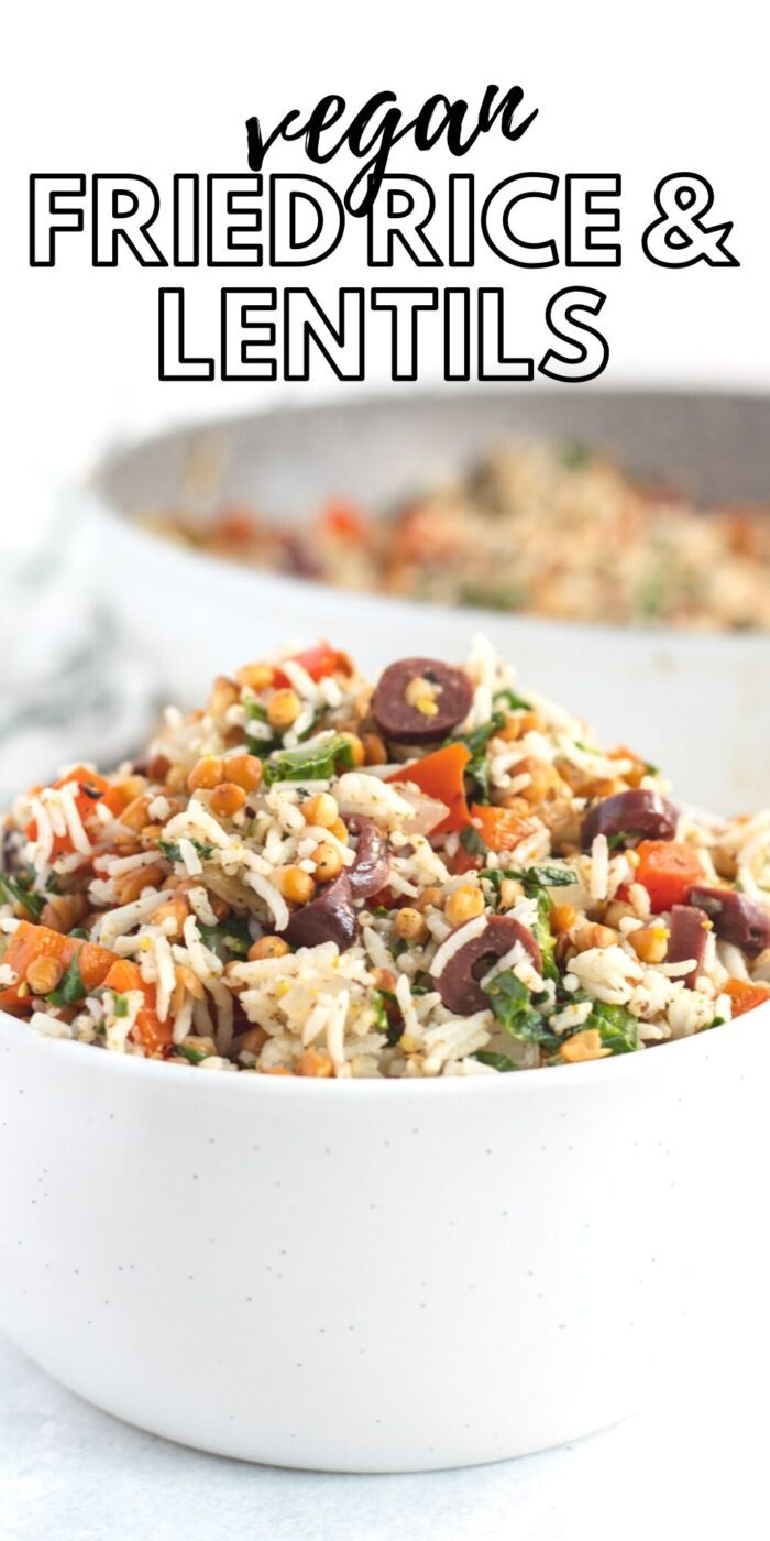Pinterest graphic with an image and text for rice and lentils.