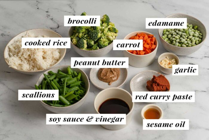 Visual list of labelled ingredients for making a vegan red curry fried rice recipe.