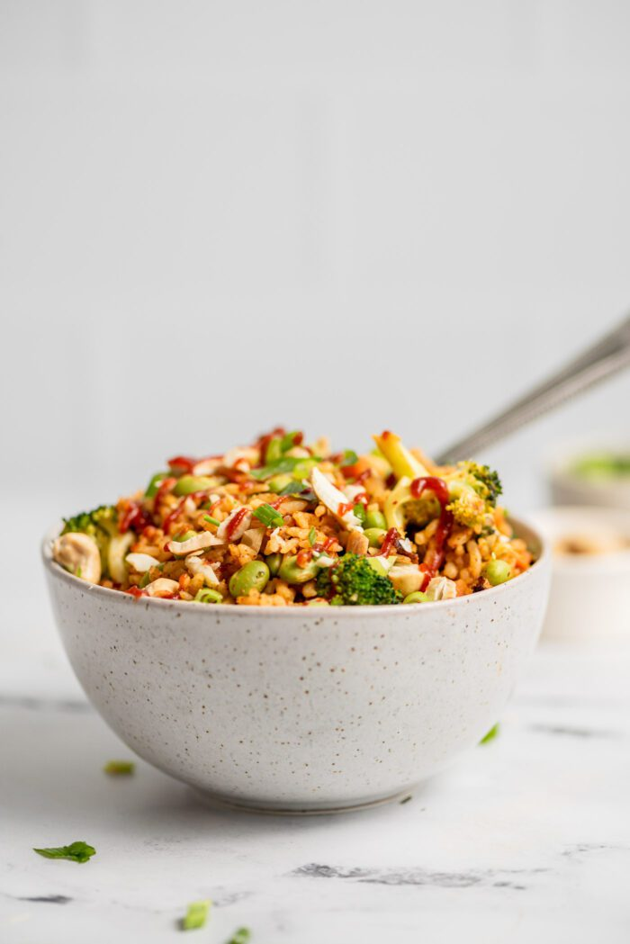 Bowl of fried rice with broccoli, carrot, edamame and green onion topped with chopped cashews.