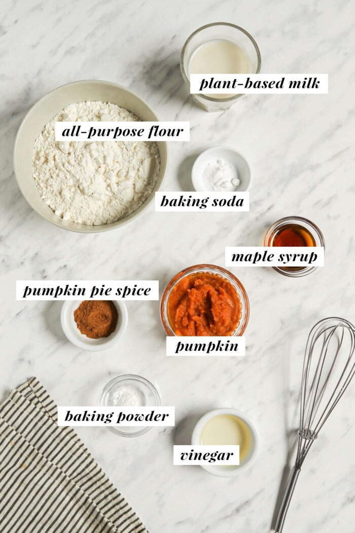 Visual list of ingredients for making vegan pumpkin pancakes. Each ingredient is labelled with a text overlay describing the ingredient.