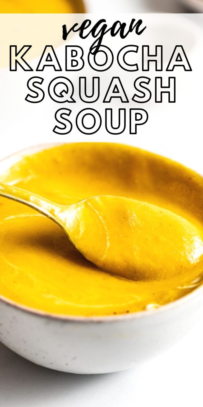 Pinterest graphic with an image and text for squash soup.