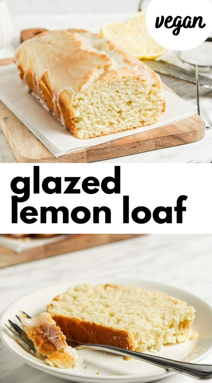 Pinterest graphic with an image and text for vegan lemon cake.