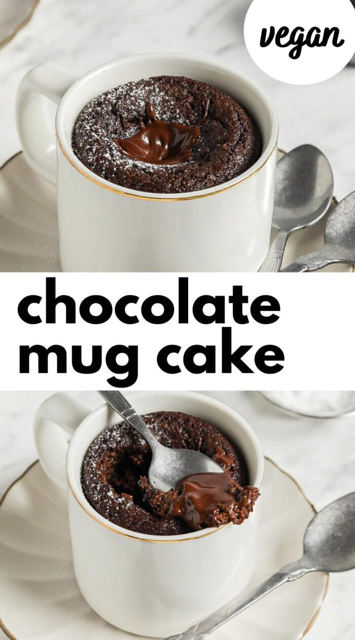 Pinterest graphic with an image and text for vegan chocolate mug cake..
