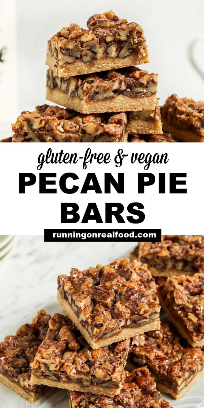 Pinterest graphic with an image and text for pecan bars.