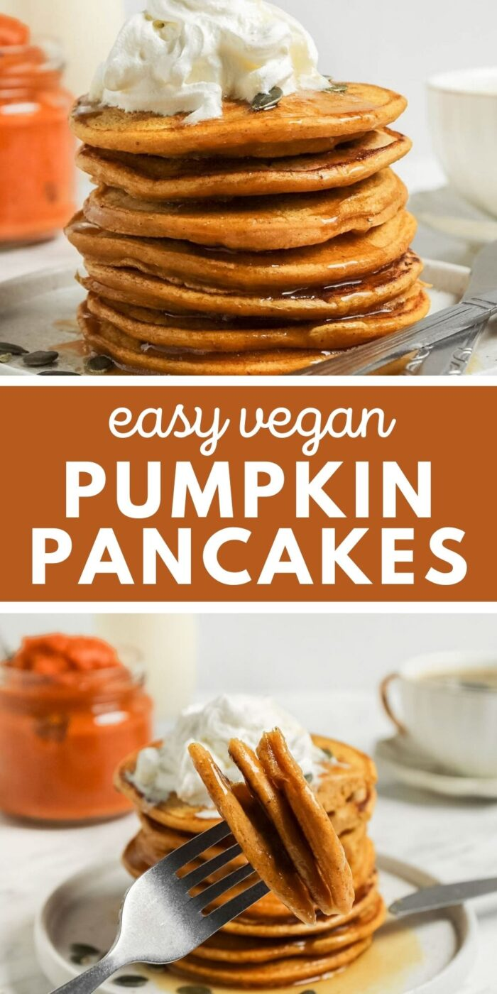 Pinterest graphic with an image and text for pumpkin pancakes.