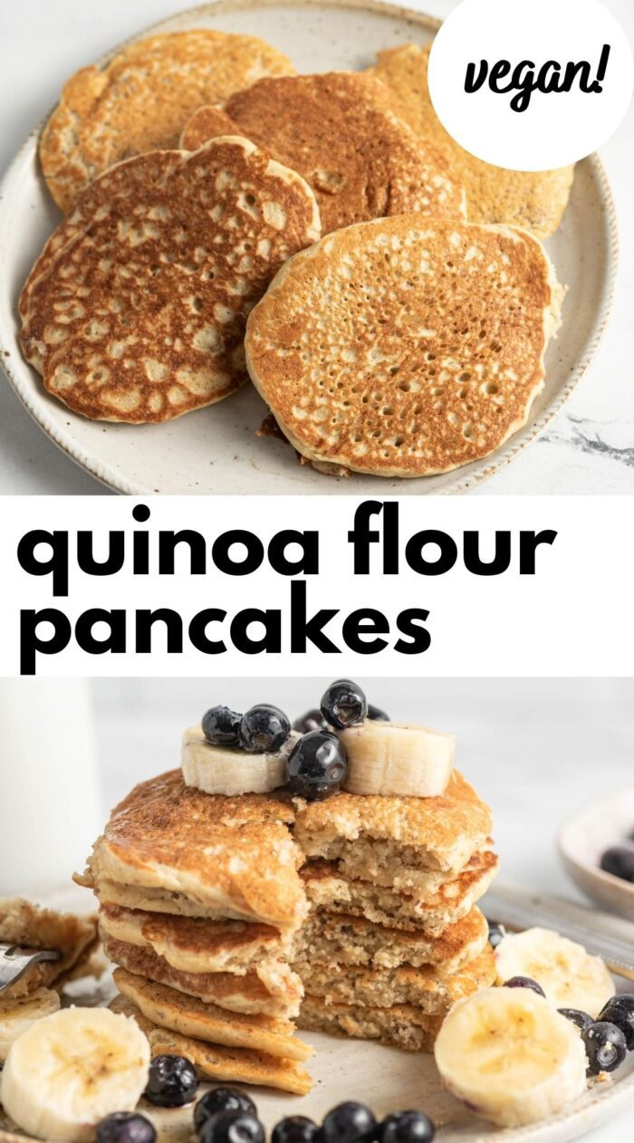Pinterest graphic with an image and text for a vegan quinoa flour pancake recipe.