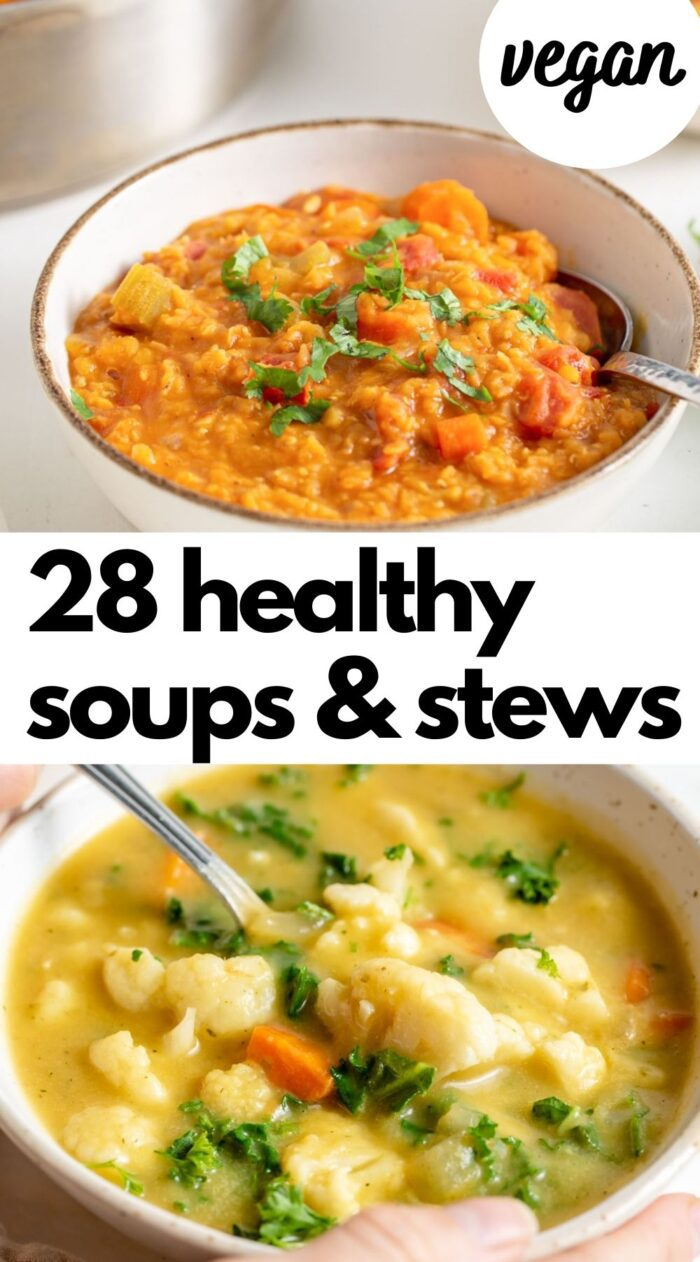 Pinterest graphic with an image and text for a collection of vegan soup recipes.