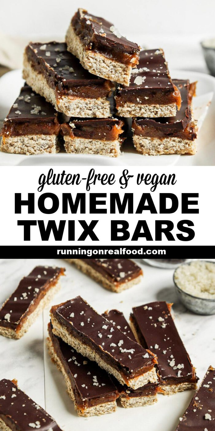 Pinterest graphic with an image and text for Twix bars.