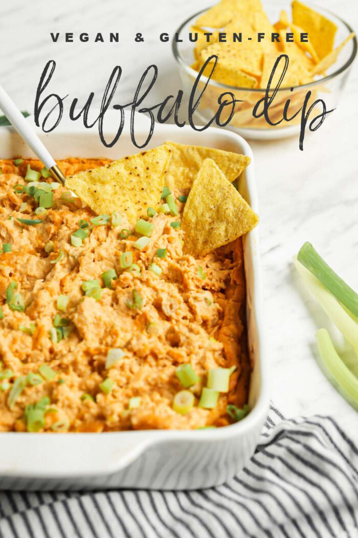 Pinterest graphic with an image and text for buffalo dip.