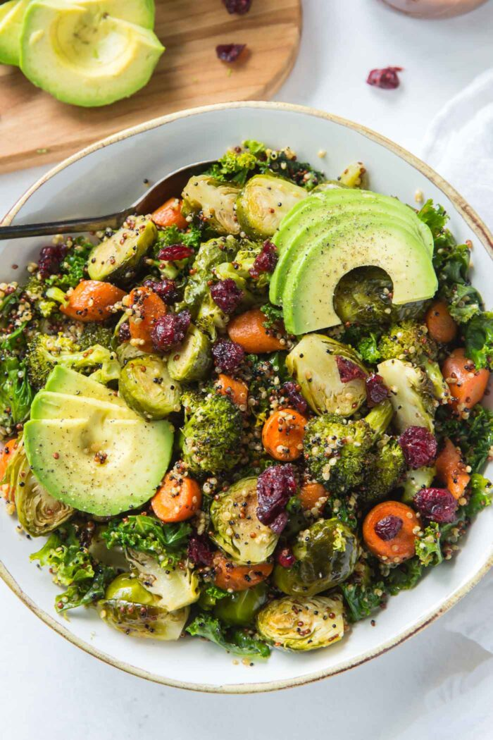 Kale quinoa salad with cranberries and roasted vegetables topped with avocado in a bowl.
