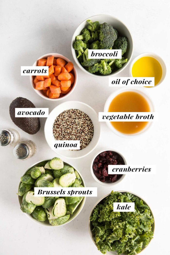 Visual list of ingredients for making a quinoa kale salad with roasted vegetables and maple balsamic dressing.