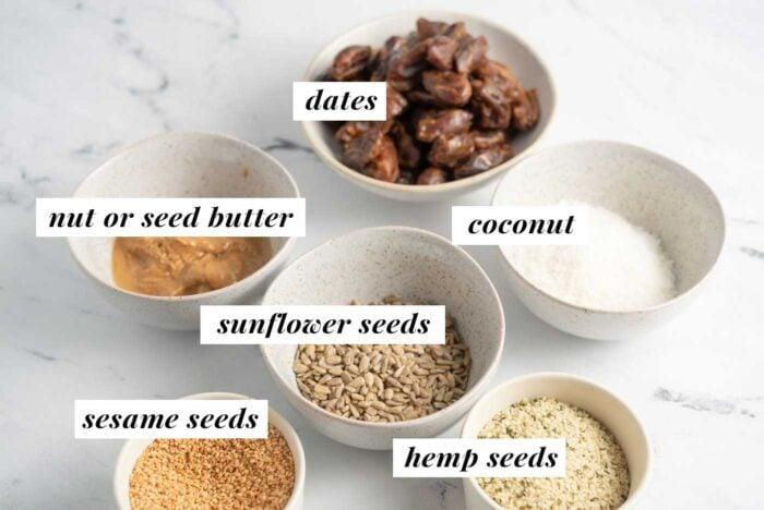 Visual list of ingredients for making sesame seed energy bars.