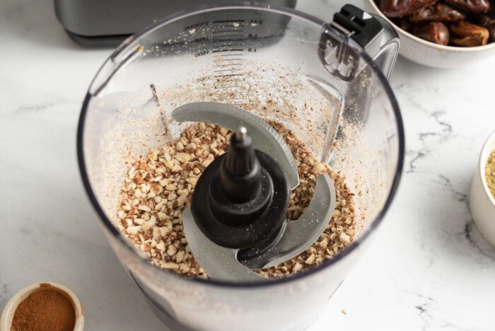 Blended almonds in a food processor.