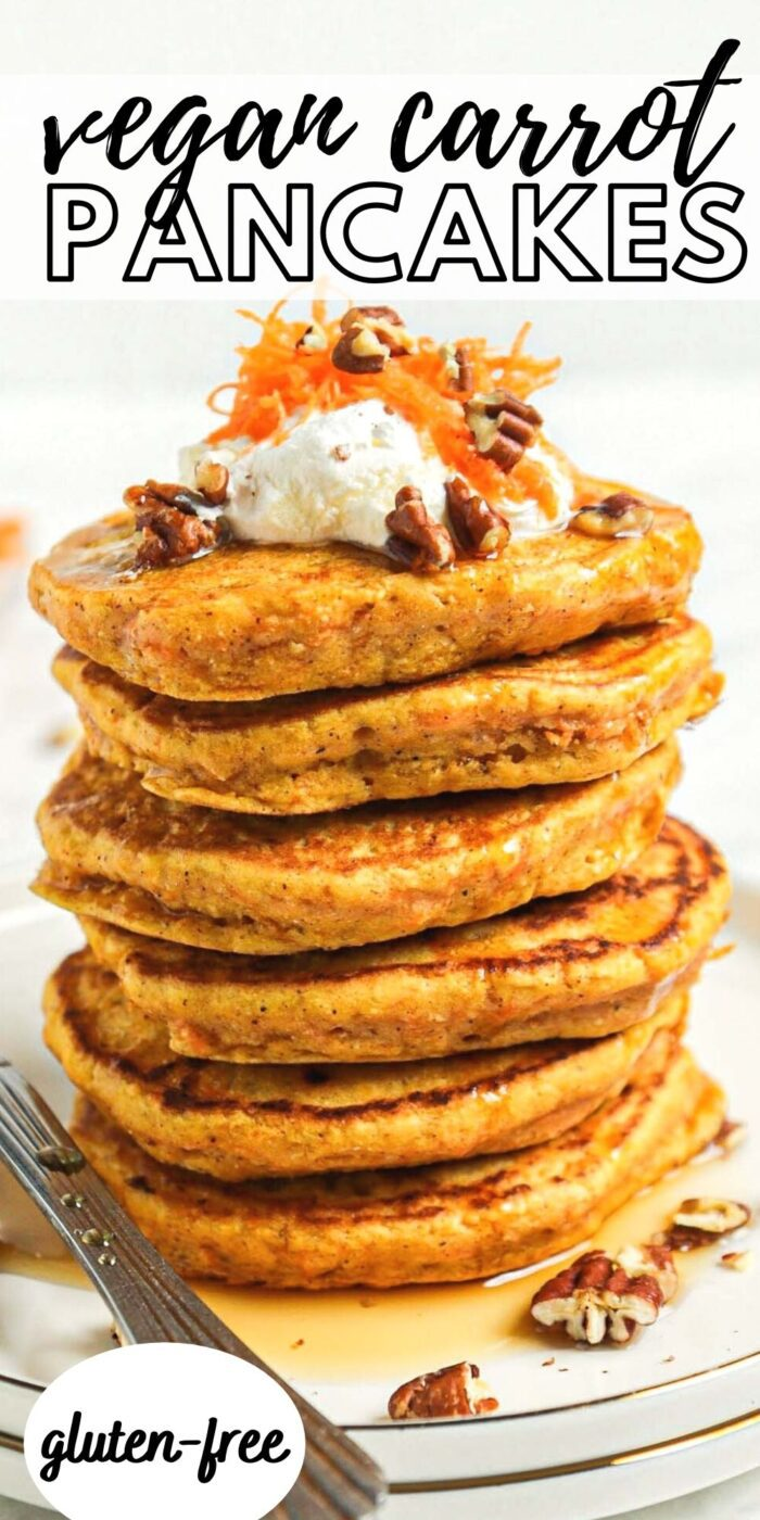 Pinterest graphic with an image and text for vegan carrot cake pancakes.