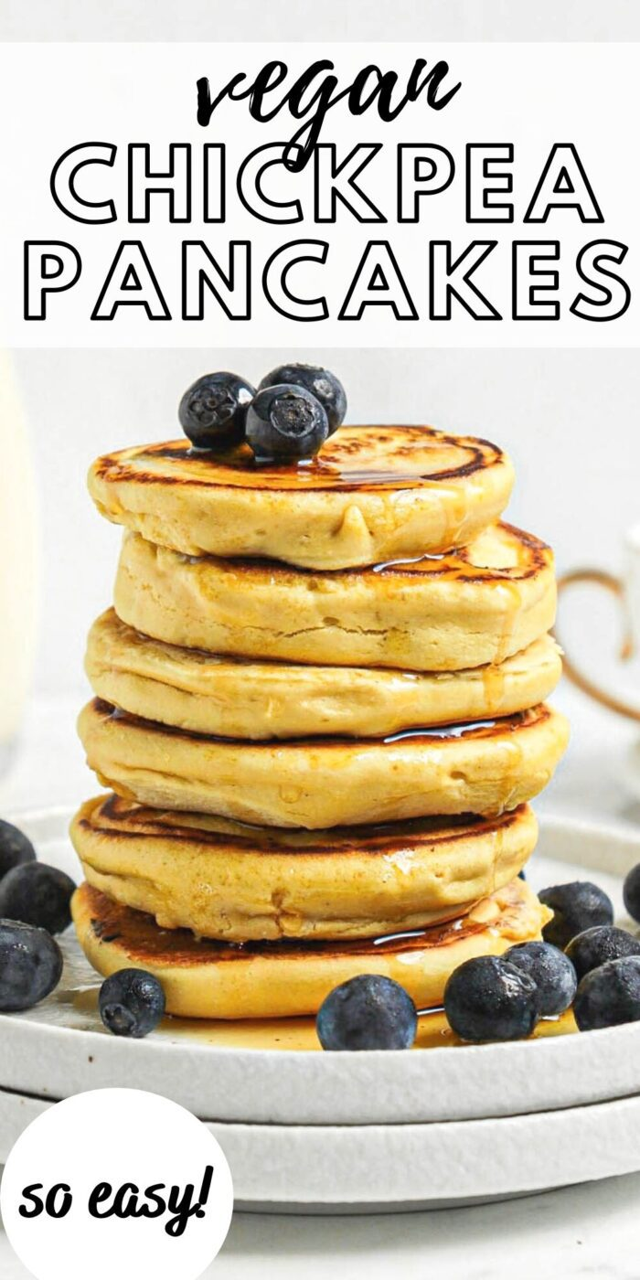 Pinterest graphic with an image and text for vegan chickpea flour pancakes.