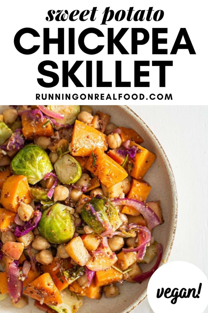 Pinterest graphic with an image and text for vegan chickpea skillet.
