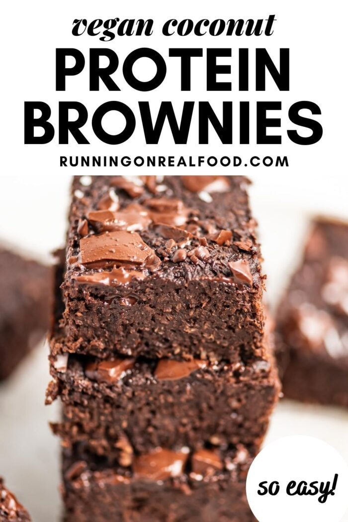 Pinterest graphic with an image and text for coconut protein brownies.