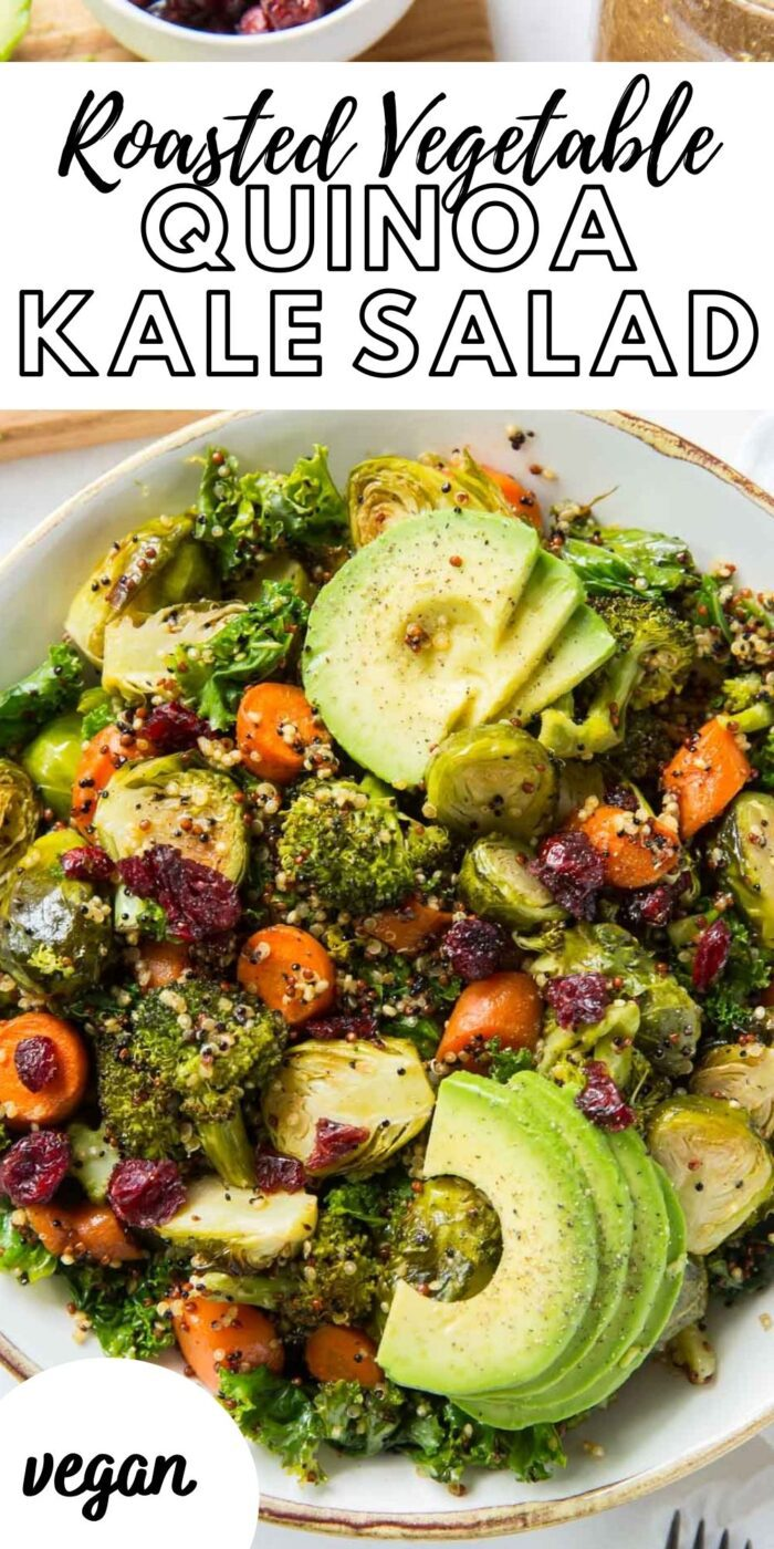 Pinterest graphic with an image and text for kale quinoa salad.