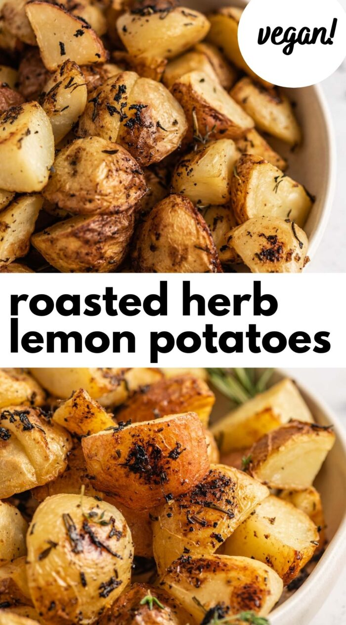 Pinterest graphic with an image and text for lemon herb potatoes.