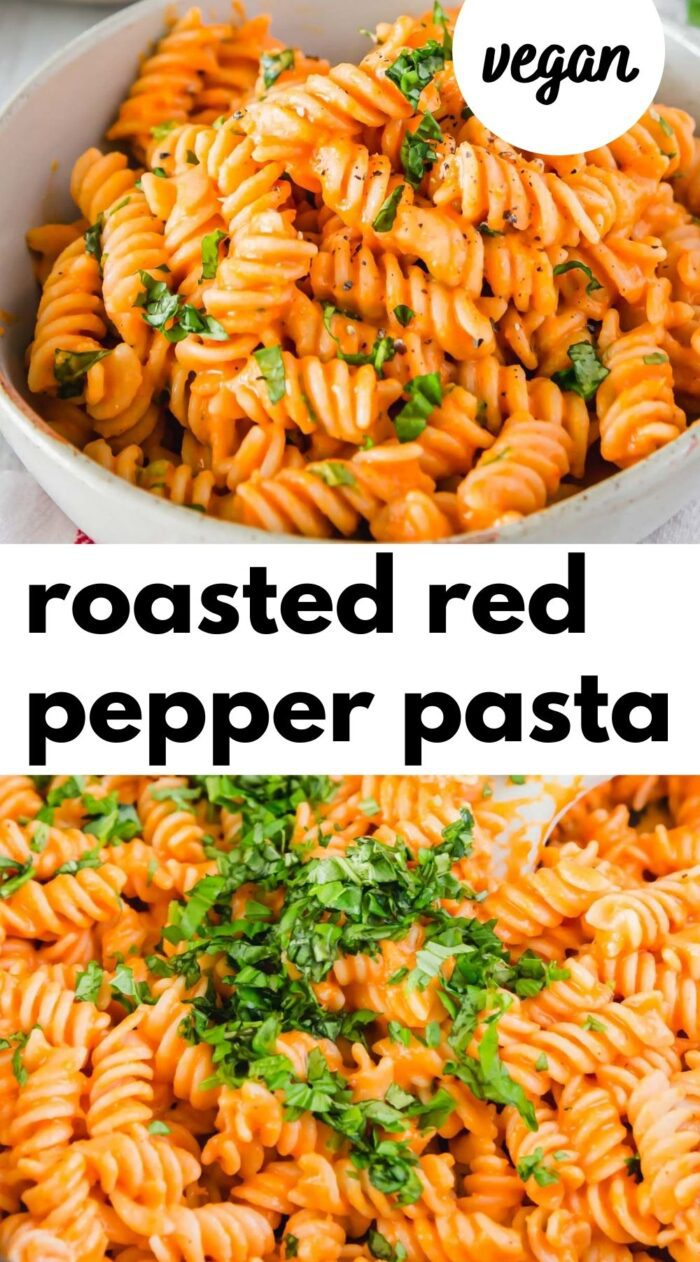 Pinterest graphic with an image and text for vegan roasted red pepper pasta.