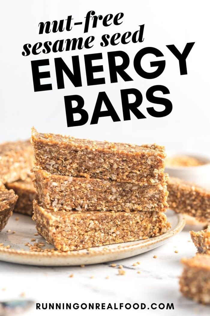 Pinterest graphic with an image and text for sesame seed bars.